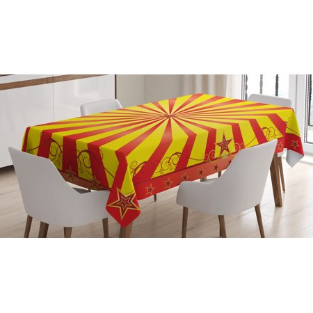 Circus Tablecloth, Retro Background with Curves Beams and Stars for Flyer or Acrobat Shows in Circus, Rectangular Table Cover for Dining Room Kitchen, 60 X 84 Inches, Multicolor, by Ambesonne