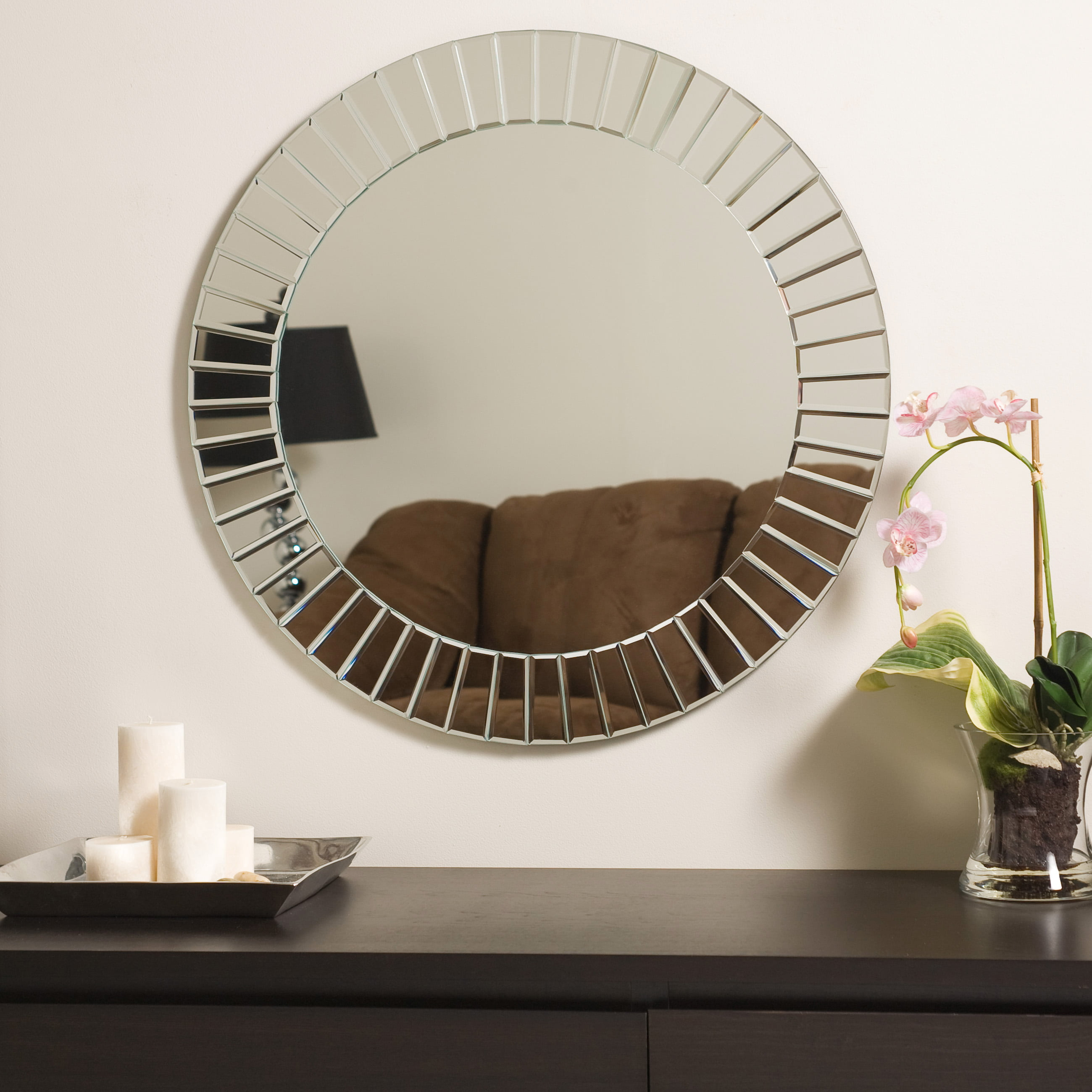 Large 27 6 Round Beveled Glow Glam Modern Decorative Mirror By Decor Wonderland Walmart Com Walmart Com