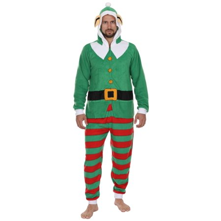 Secret Santa Adult Mens Womens Christmas Holiday Elf Onesie Pajama, Green, Size: Large / X-Large - Women Elves