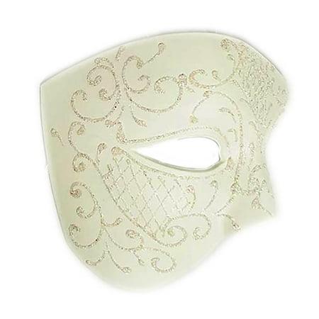 Ivory Glitter Half Phantom Mask