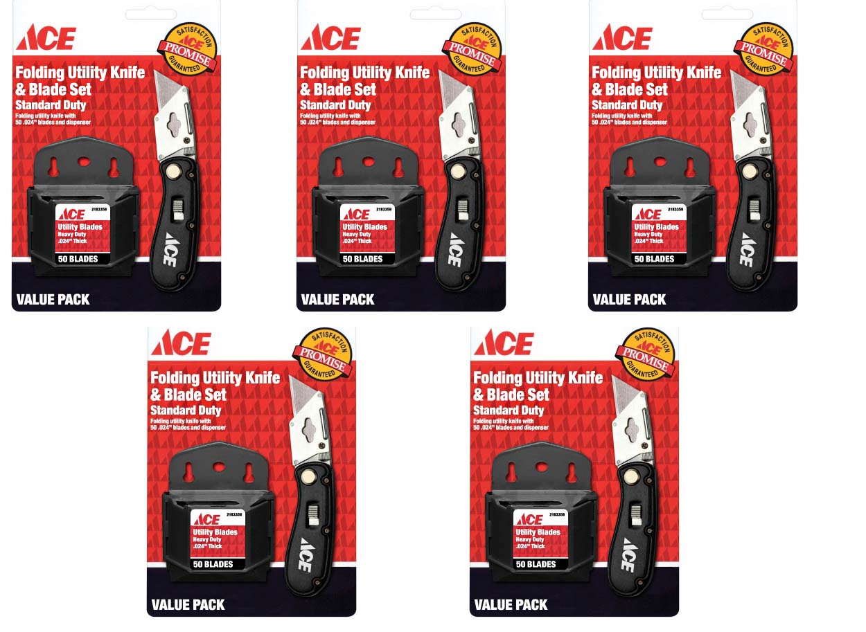 Ace Hardware Folding Utility Knife and Blade Set with 250 Blades 2199644, 5 Pack by