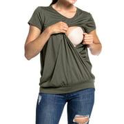 Fysho Women Breastfeeding T-Shirt Summer round neck short-sleeved Maternity Breastfeeding and Nursing Tops