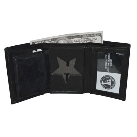 Police Badge ID holder wallet - 5 point star shape - by leatherboss (Police Badge Toy)