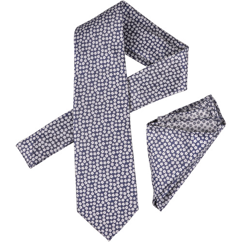 Daxx Men's Floral Print Silk Touch Microfiber Tie and Hanky Set