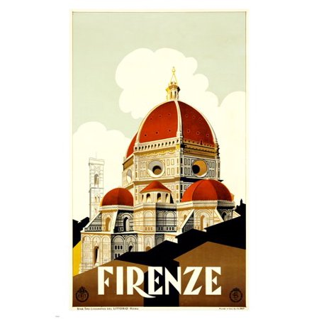 Old World Italian - 1930 Firenze Italy Vintage Travel Poster For Enit 24X36 Old World Decor