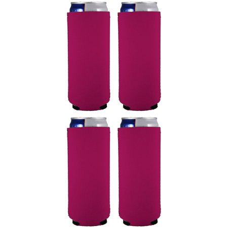 Blank Neoprene Collapsible Slim 12 oz Can Coolie (4, Magenta) - Personalized Koozie