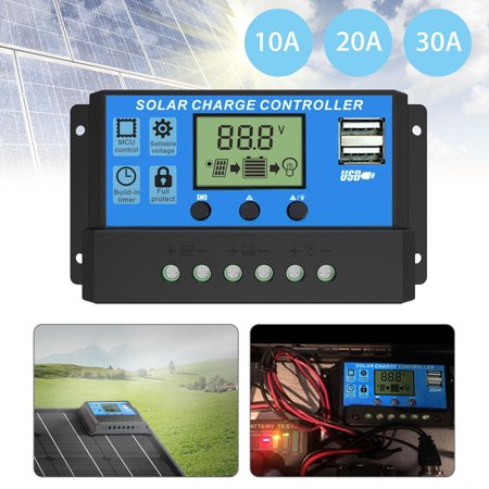 30A/20A/10A Solar Charger Controller Solar Panel Battery Intelligent Regulator with Dual USB Port LCD Display 12V/24V, PWM Charge Controller