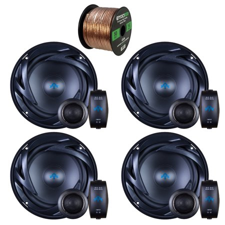 - 4 x Autotek ATS65C ATS Car Audio Speakers 6.5 Inch Equipted With Neo-Mylar Soft Dome Tweeter Bundle With Enrock 50ft 16g Speaker Wire