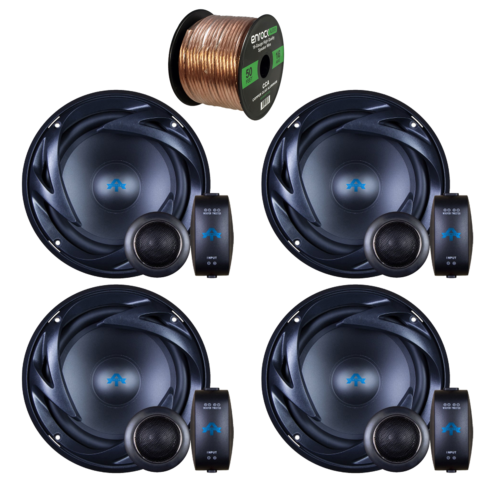 4 x Autotek ATS65C ATS Car Audio Speakers 6.5 Inch Equipted With Neo-Mylar Soft Dome Tweeter Bundle With Enrock 50ft 16g Speaker Wire