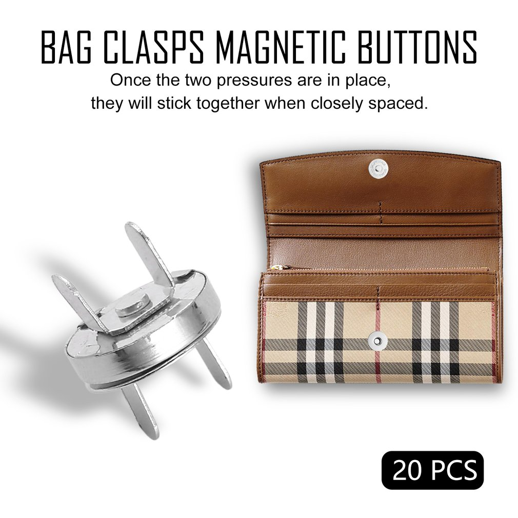 20pcs Bag Purse Clasps Magnetic Buttons Snaps Fasteners Handbag Craft Buttons Jewelry Tools / Jewelry Accessories / Parts