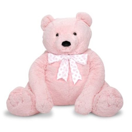 Melissa & Doug Jumbo Pink Teddy Bear Stuffed Animal, 2' tall
