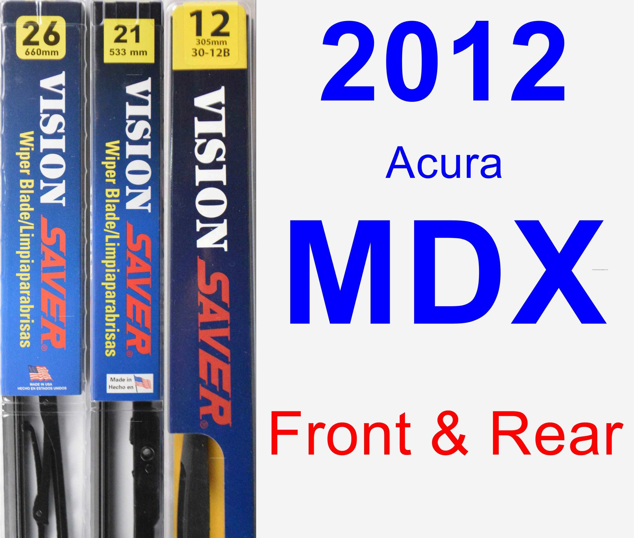 2012 Acura MDX Wiper Blade Set/Kit (Front & Rear) (3