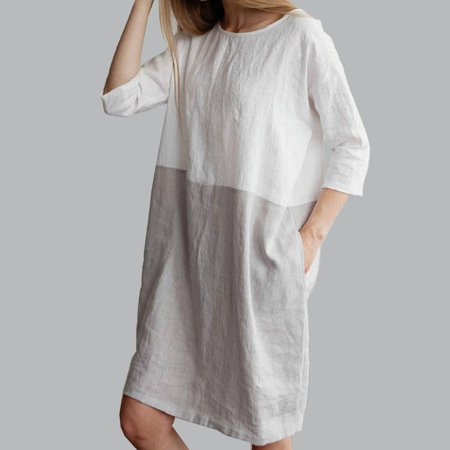 Baggy Womens Casual Short Sleeve Dresses Cotton Linen Ladies Tunic Tops Dress Grey Size S