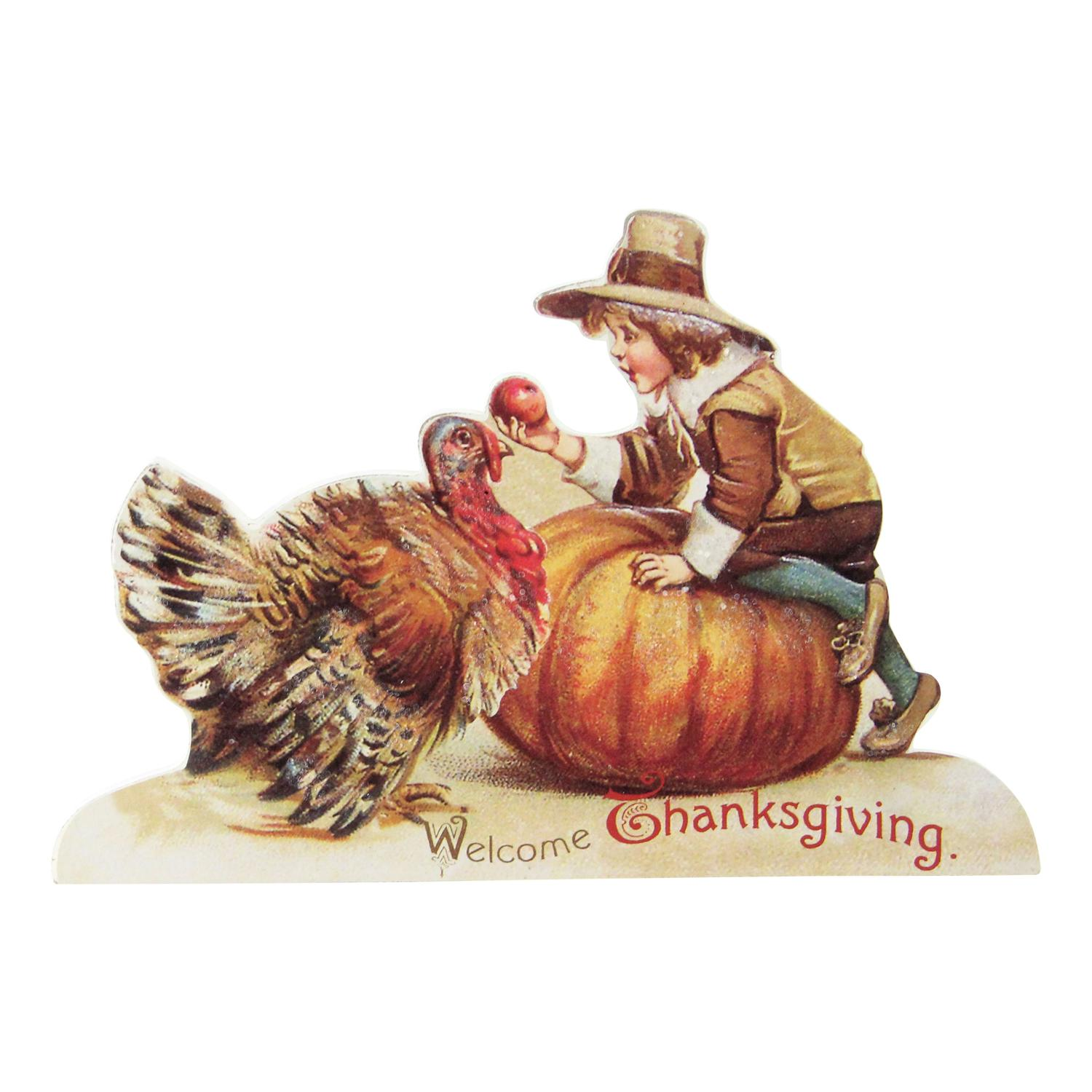 """8.25"""" Glittered Child With Turkey and Pumpkin Vintage Thanksgiving Sign"""
