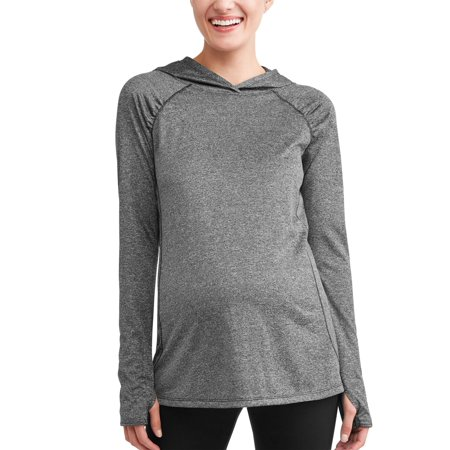 Sleeve Maternity Hoodie - Maternity Sport Pullover Hoodie w/ Ruche Details