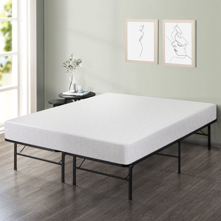 Best Price Mattress 7 Inch Gel Memory Foam Mattress and 14 inch Dual-Use Steel Bed Frame/Foundation Set - (Best Place For Used Furniture)