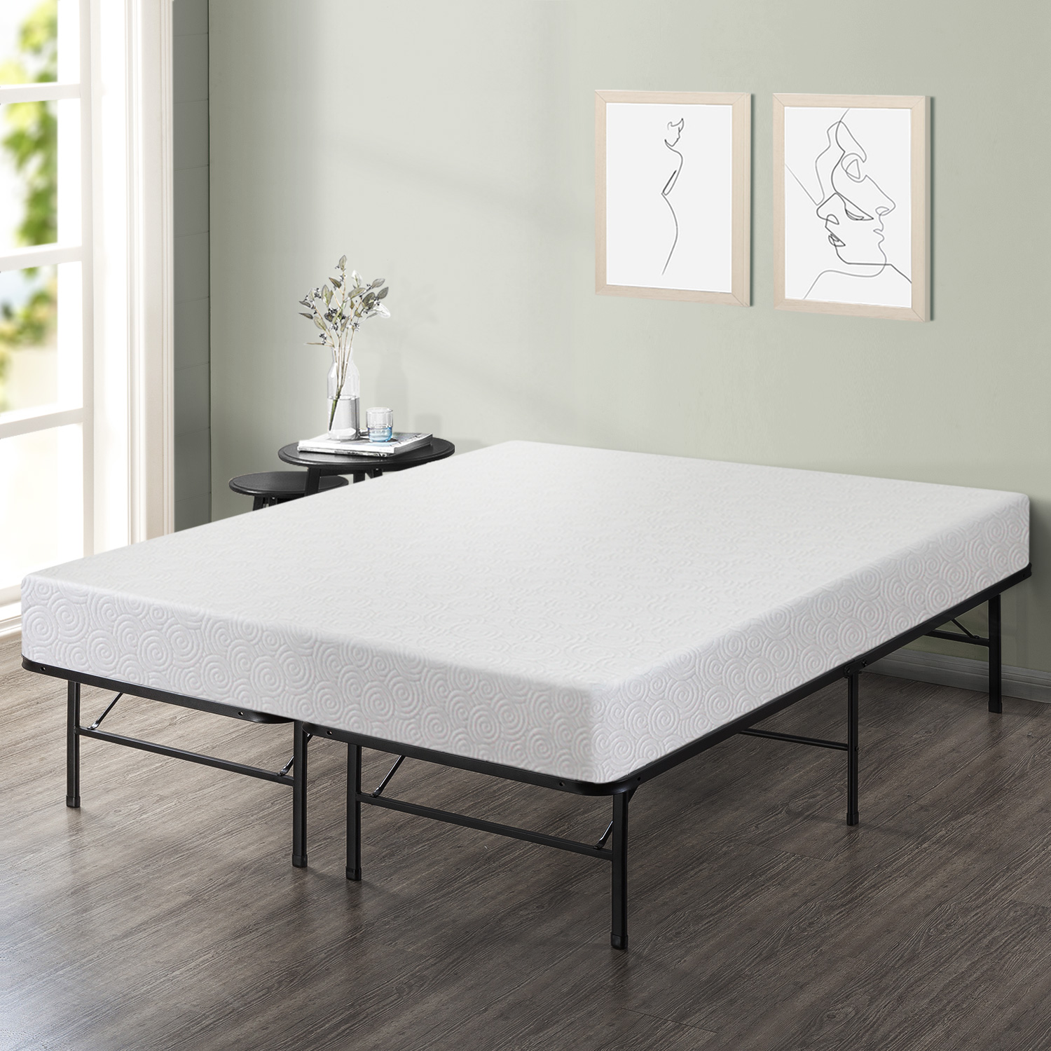 Best Price Mattress 7 Inch Gel Memory Foam Mattress and 14 inch Dual-Use Steel Bed Frame/Foundation Set - Twin