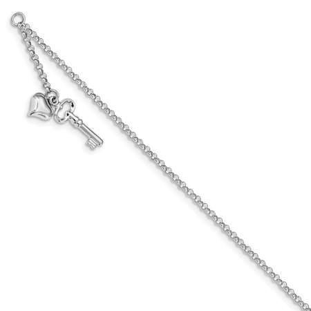 14k White Gold Adjustable Puffed Heart and Key Anklet - with Secure Lobster Lock Clasp 10