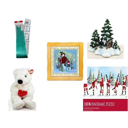 Christmas Fun Gift Bundle [5 Piece] - Myco's Best Pull Bows Set of 10 - Dept. 56 Village Accessory Wagonwheel Pine Grove - Warm Winter Blessings Snowman Family Hot Plate Trivet - Ty Beanie Buddy