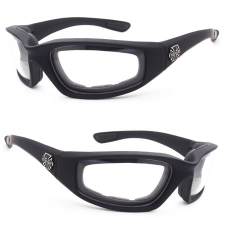 Choppers Wind Resistant Foam CLEAR Sunglasses Sports Motorcycle Riding