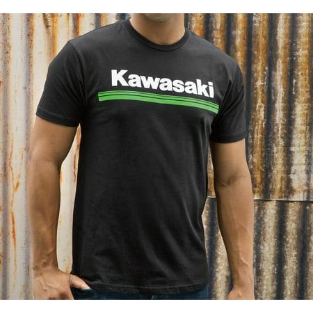 Kawasaki Green - Kawasaki 3 Green Lines Short Sleeve T-Shirt Black Medium