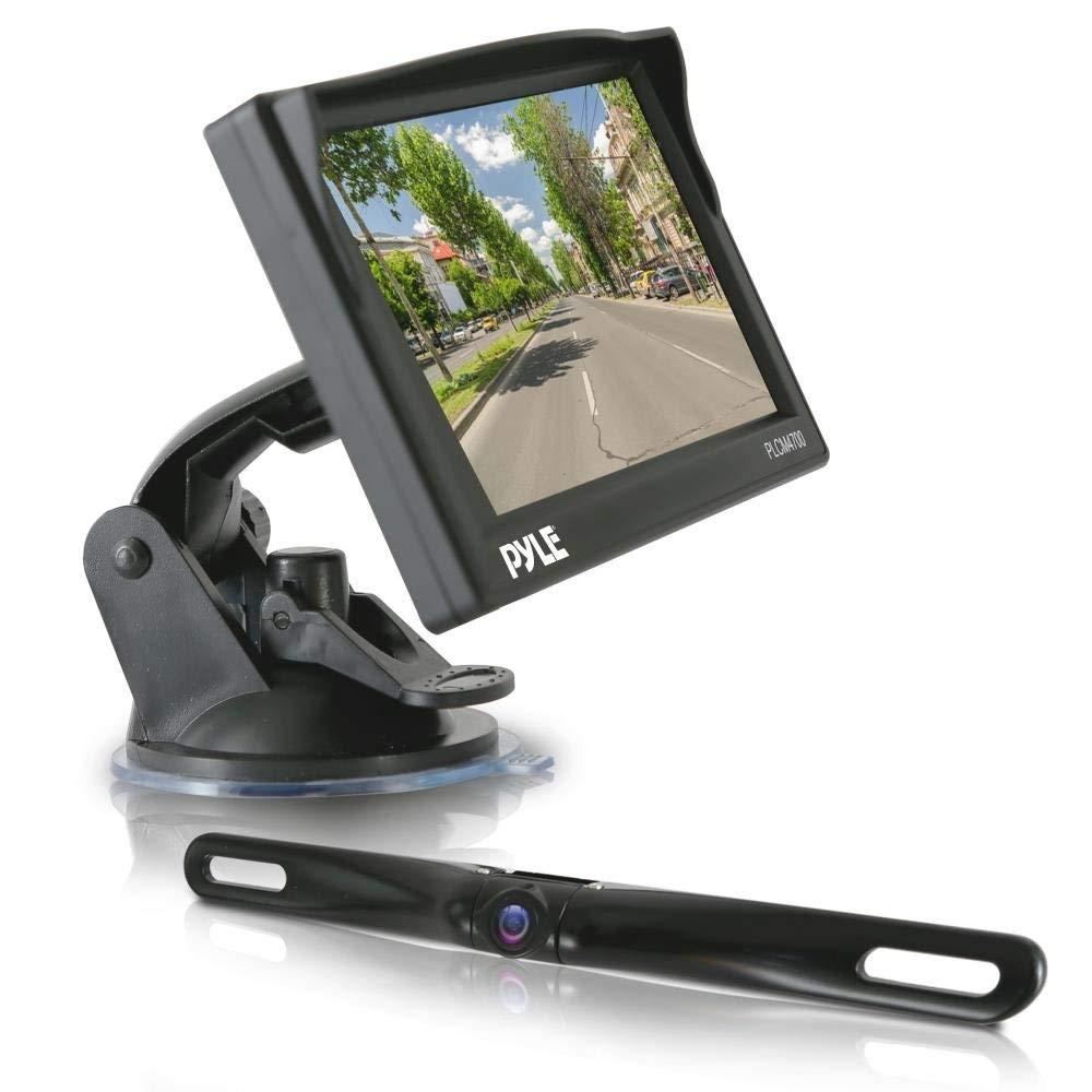 PYLE PLCM4700 - Rear View Backup Camera & Monitor Parking / Reverse Assist System, Includes Waterproof Night Vision Cam, Angle Adjustable, Distance Scale Lines, 4.7'' LCD Display