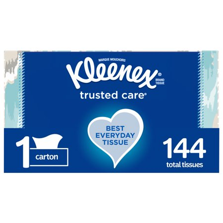 Kleenex Trusted Care Everyday Facial Tissues, 144 Tissues per Rectangular Box, 1 Pack (144 Tissues Total)