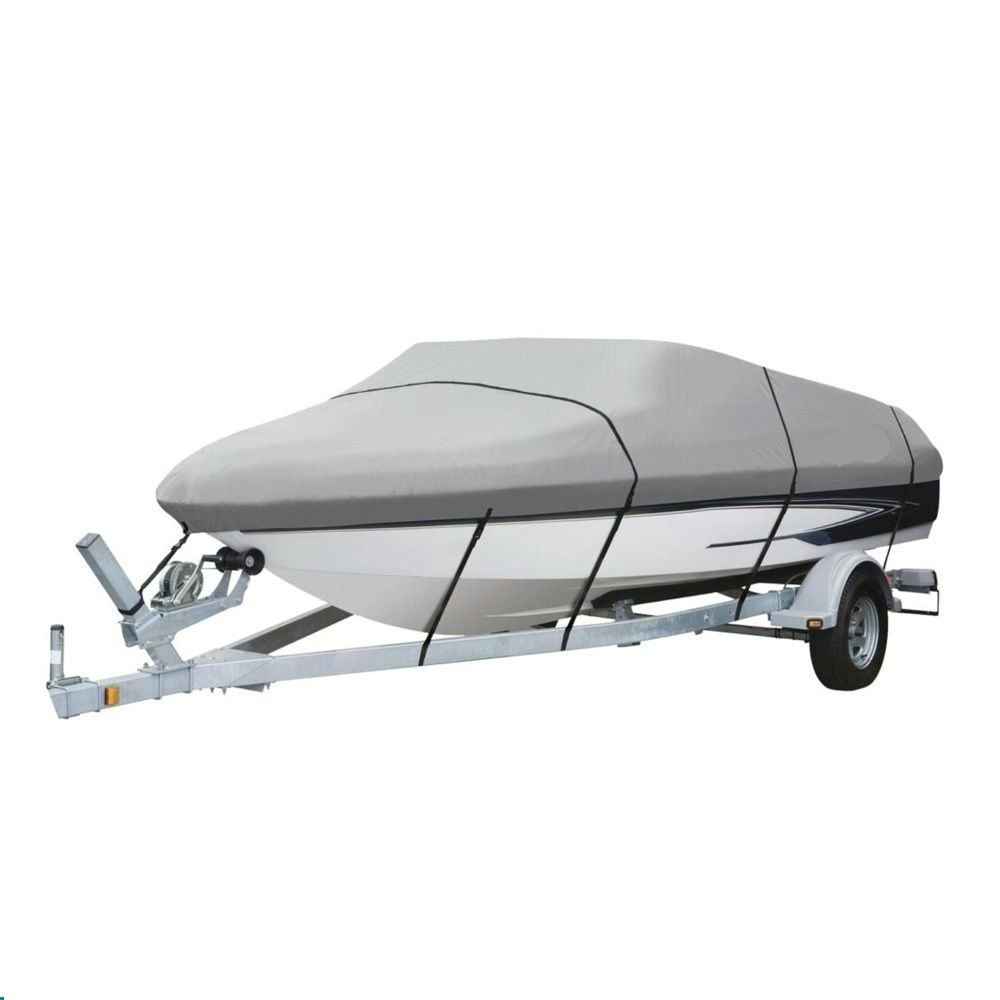 Deluxe 20' 21' 22' Runabout, Ski, V-Hull Boat Cover GRAY 600 Denier by Marine & RV Direct