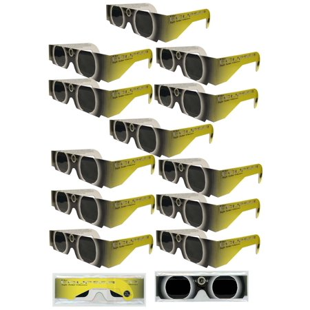 Solar Eclipse Glasses   Iso Certified  Ce Approved   12 Pairs Sleeved    Yellow Sun    Solar Shades