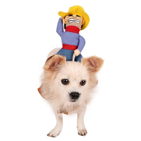 HDE Cowboy Dog Costume Halloween Pet Apparel Soft Saddle with Stuffed Cowboy Outfit for Medium and Large Dogs (Brown, Large)