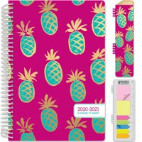 """HARDCOVER Academic Year 2020-2021 Planner 5.5""""x8"""" (Pineapples) - AMZPLAN-AY20-08"""