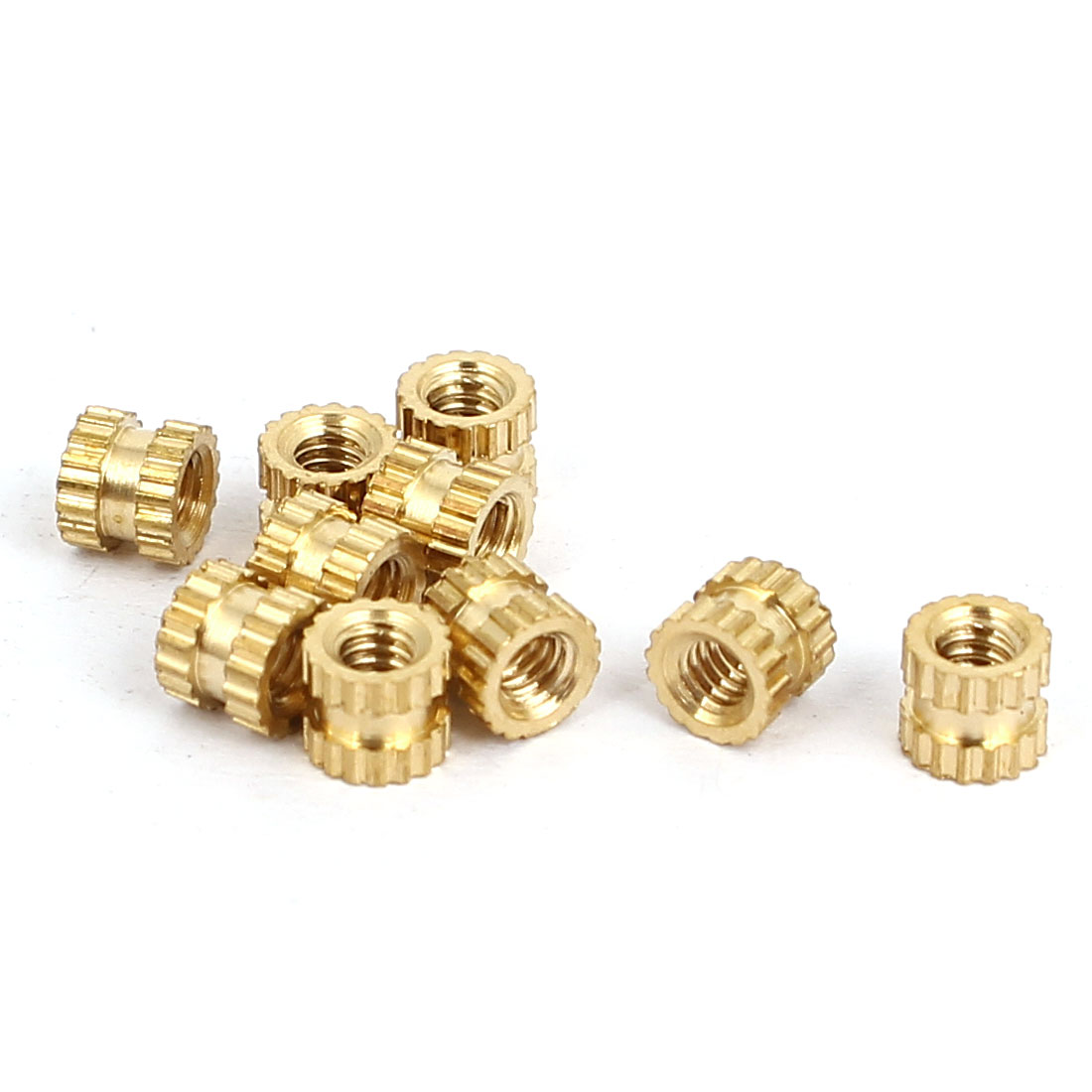 M2x3mmx3.5mm Female Threaded Brass Knurled Insert Embedded Nuts Gold Tone 10pcs