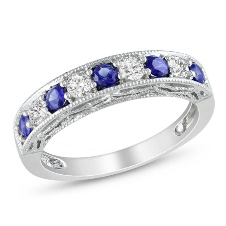 Sterling Silver Created Blue and White Sapphire Stackable Anniversary Ring (Sapphire Medium Stackable Ring)