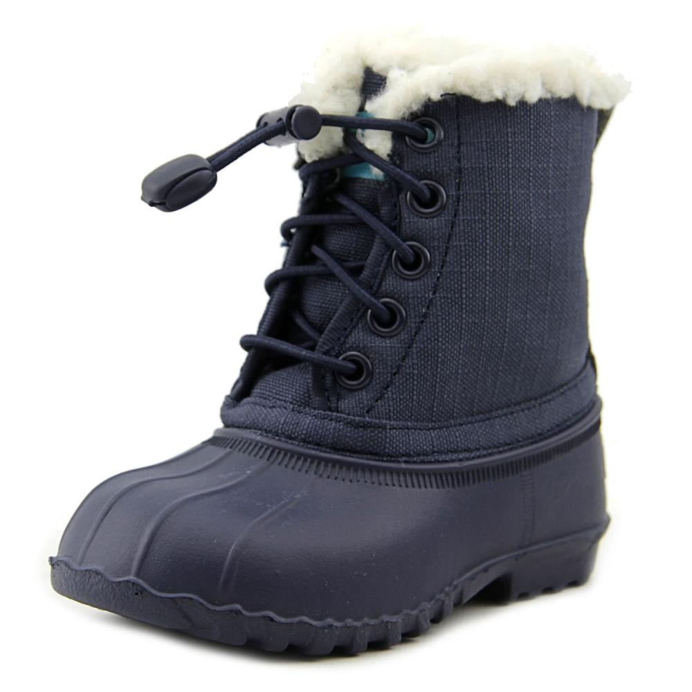 Native Jimmy Winter Toddler  Round Toe Canvas Blue Winter Boot