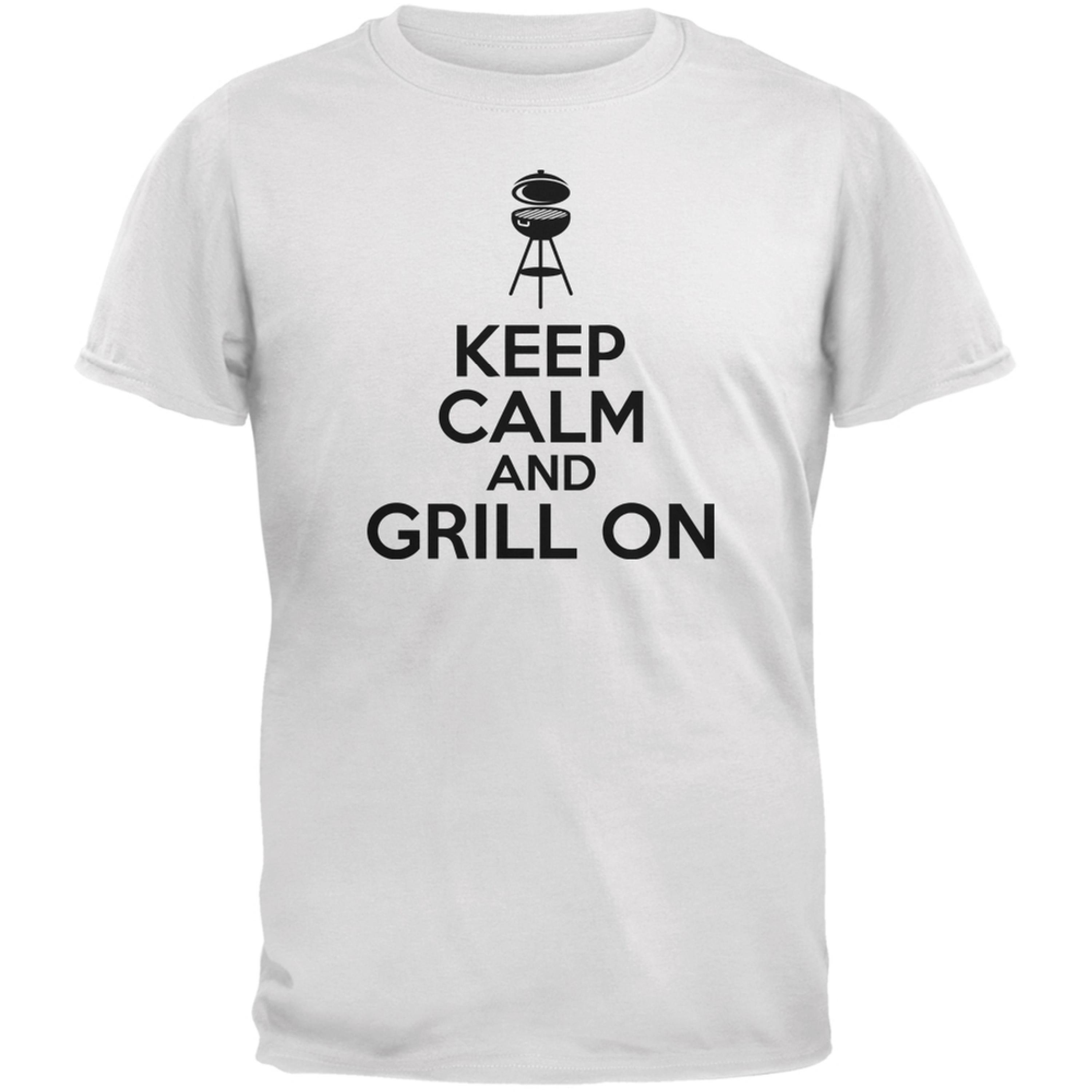 Keep Calm Grill On White Adult T-Shirt