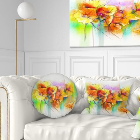 DESIGN ART Designart 'Bright Yellow Gerbera and Daisies' Floral Throw - Gerbera Daisy Pillow