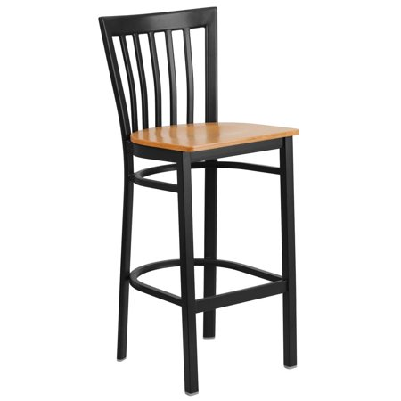 Black School House Back Metal Restaurant Barstool - Natural Wood Seat (School House Wood)