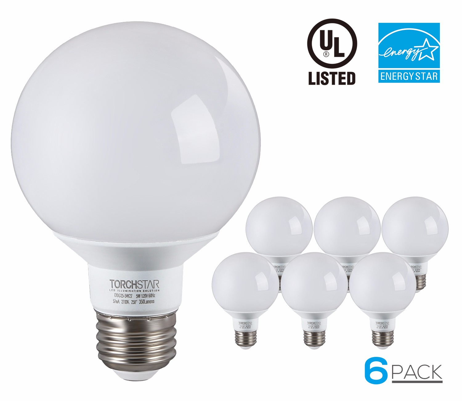 6 Pack G25 Globe LED Light Bulb, 5W (40W Equiv.), ENERGY