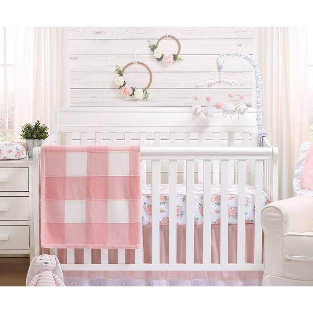 Peanutshell Farmhouse Baby Girl Pink, The Peanut Shell Bella 6 Piece Crib Bedding Set