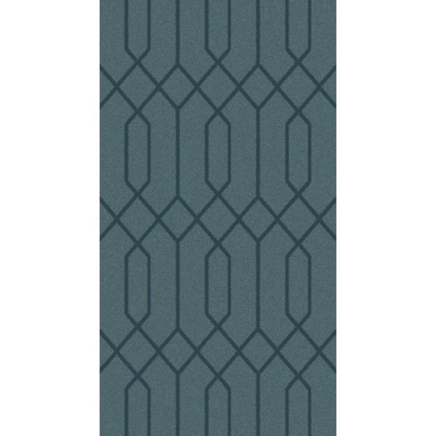 8' x 10' Textured Lines Teal Hand Knotted Wool Area Throw Rug