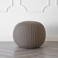 Urban Shop Round Knit Pouf, Taupe