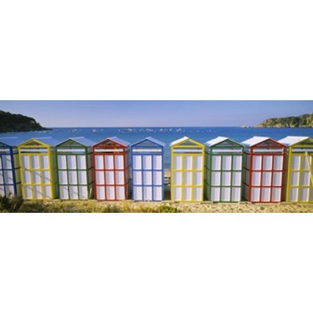 Beach huts in a row on the beach Catalonia Spain Canvas Art - Panoramic Images (36 x (Hut On The Beach)