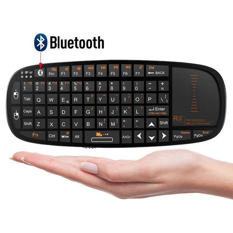 Rii Wireless Bluetooth 2.4GHz Keyboard Touchpad Laser Pointer for TV Box PC Games, Black (i10 BT)