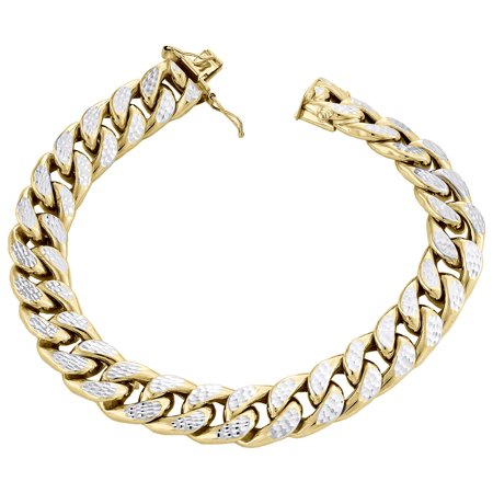 10K Yellow Gold Mens 10.5mm Diamond Cut Hollow Miami Cuban Bracelet Box Clasp 8