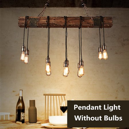 Meigar 110V Farmhouse Style Wood Beam Pendant Chandelier Lighting Fixture Kitchen Room Bar Hotel Industrial Decor(Not Included The Bulbs) ()