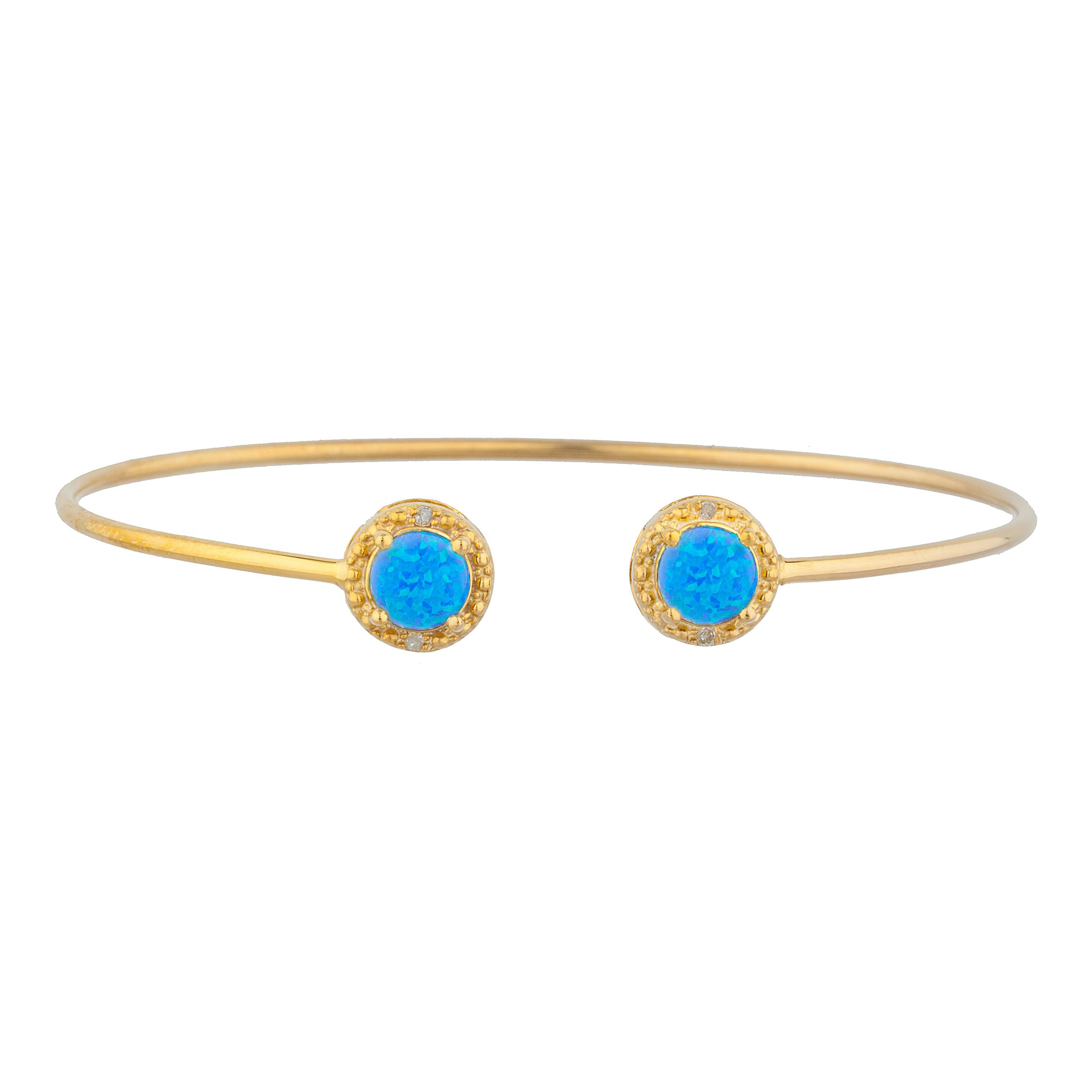 14Kt Yellow Gold Plated Blue Opal & Diamond Round Bangle Bracelet by Elizabeth Jewelry Inc