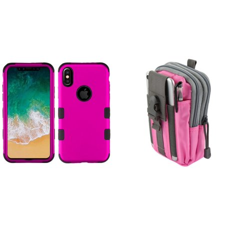 TUFF Hybrid (Military Grade Certified) Phone Protector Cover Case (Magenta Hot Pink) with Pink Gray Tactical EDC MOLLE Belt Bag Pouch and Atom Cloth for Apple iPhone XS (2018)/iPhone X (2017) -  Bemz Depot