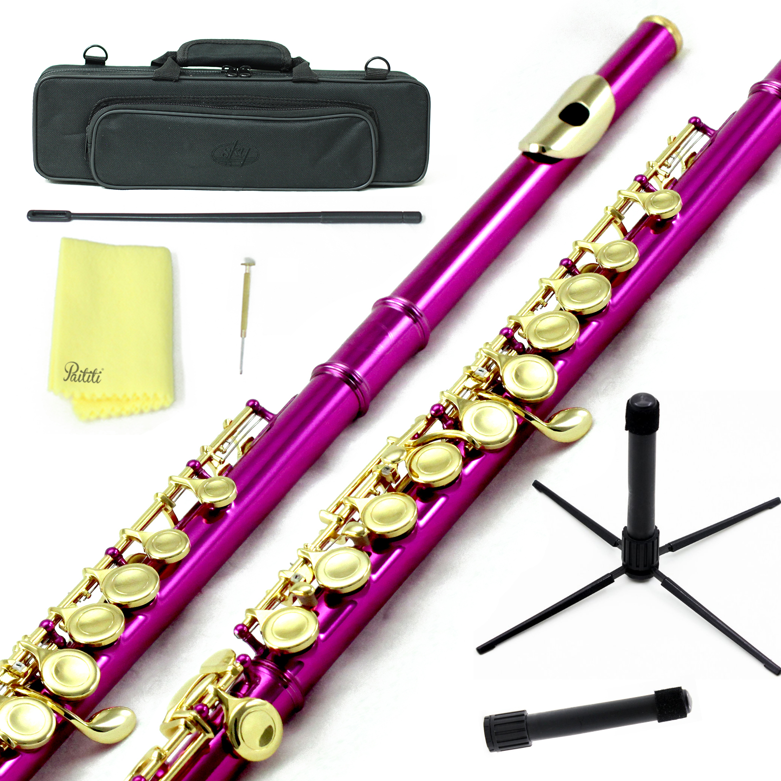 Sky Closed Hole C Flute with Lightweight Case, Cleaning Rod, Cloth, Joint Grease and Screw Driver - Hot Pink Gold