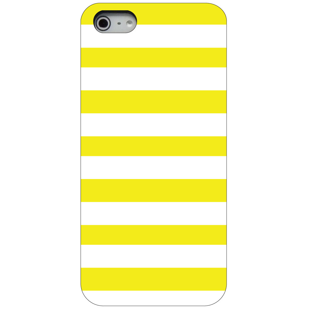 CUSTOM Black Hard Plastic Snap-On Case for Apple iPhone 5 / 5S / SE - Yellow & White Bold Stripes