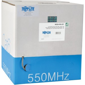 Tripp Lite 1000FT PVC CMR CAT 6 SOLID UTP BULK CABLE Gray 1000' - 1000ft - Gray